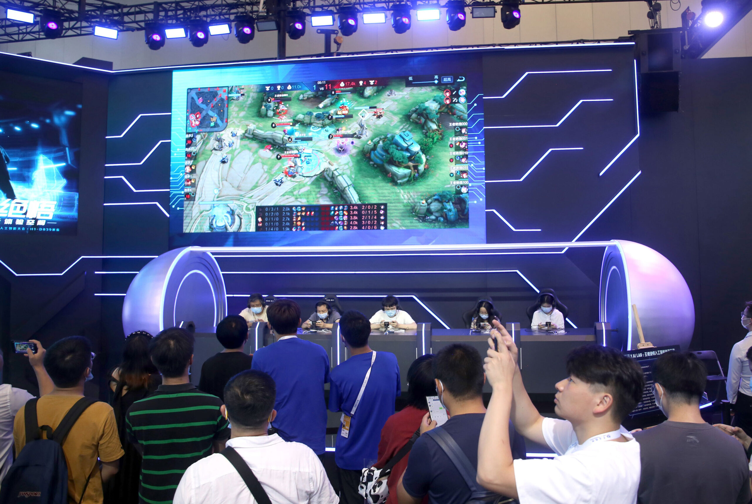 <i>Costfoto/Barcroft Media/Getty Images</i><br/>Tencent announces new limits on screen time as China increases crackdown on the gaming industry. This image taken on July 9 shows Tencent's game Honor of Kings in Shanghai