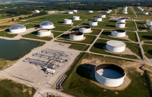 Oil companies are wooing skeptical investors with cash. This aerial photo shows the Patoka Oil Terminal