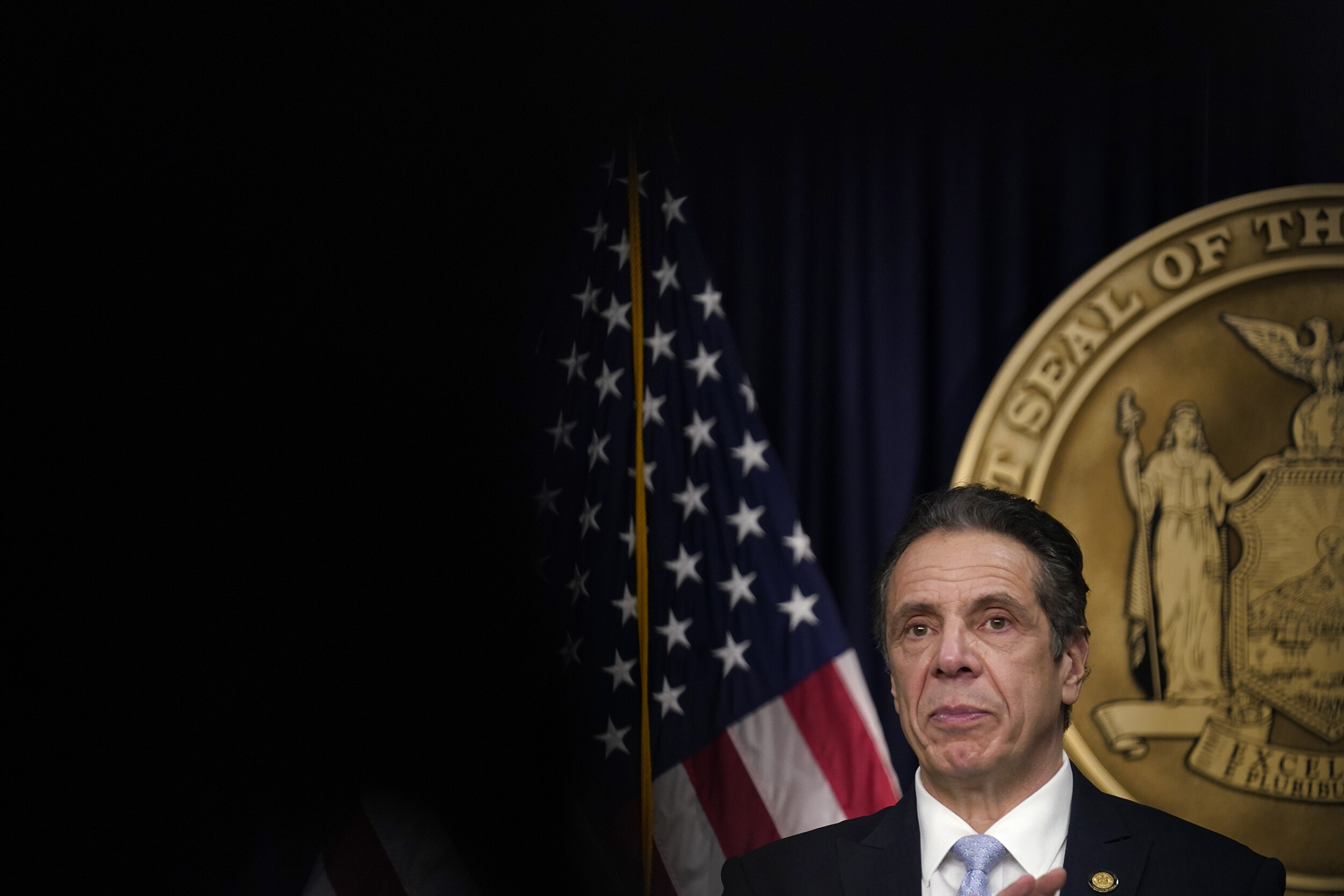<i>Seth WenigPool/Getty Images/</i><br/>New York Gov. Andrew Cuomo speaks during an event at his office on March 18