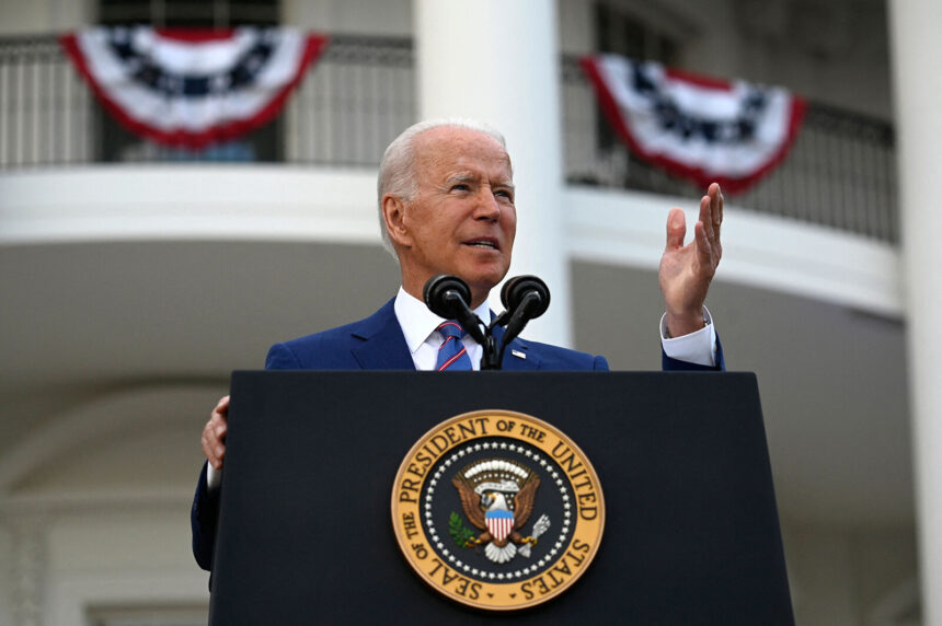 President Joe Biden on Tuesday will provide an update on his administration's Covid-19 vaccination efforts. Biden is seen here on the South Lawn of the White House