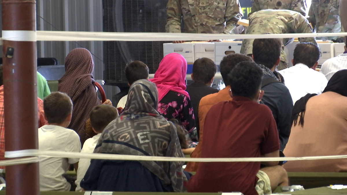 Afghan refugees at a Fort Bliss complex set up to house them.