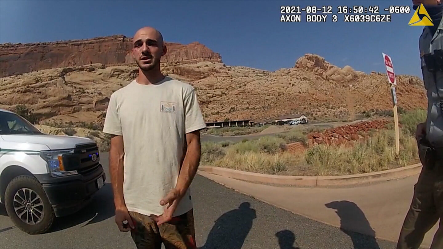 <i>Moab Police Department</i><br/>Bodycam footage from the Moab Police Department from August shows them talking with Brian Laundrie.