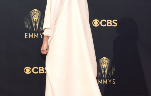 Elizabeth Olsen wore a gown designed by her sisters to Sunday's Emmy Awards.