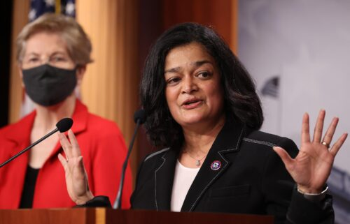 Rep. Pramila Jayapal (D-WA) speaks during a news conference with Sen. Elizabeth Warren (D-MA) to announce legislation that would tax the net worth of America's wealthiest individuals at the U.S. Capitol on March 1 in Washington