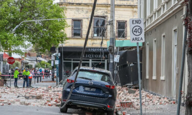 Damaged buildings along Chapel Street are seen following an earthquake on September 22 in Melbourne