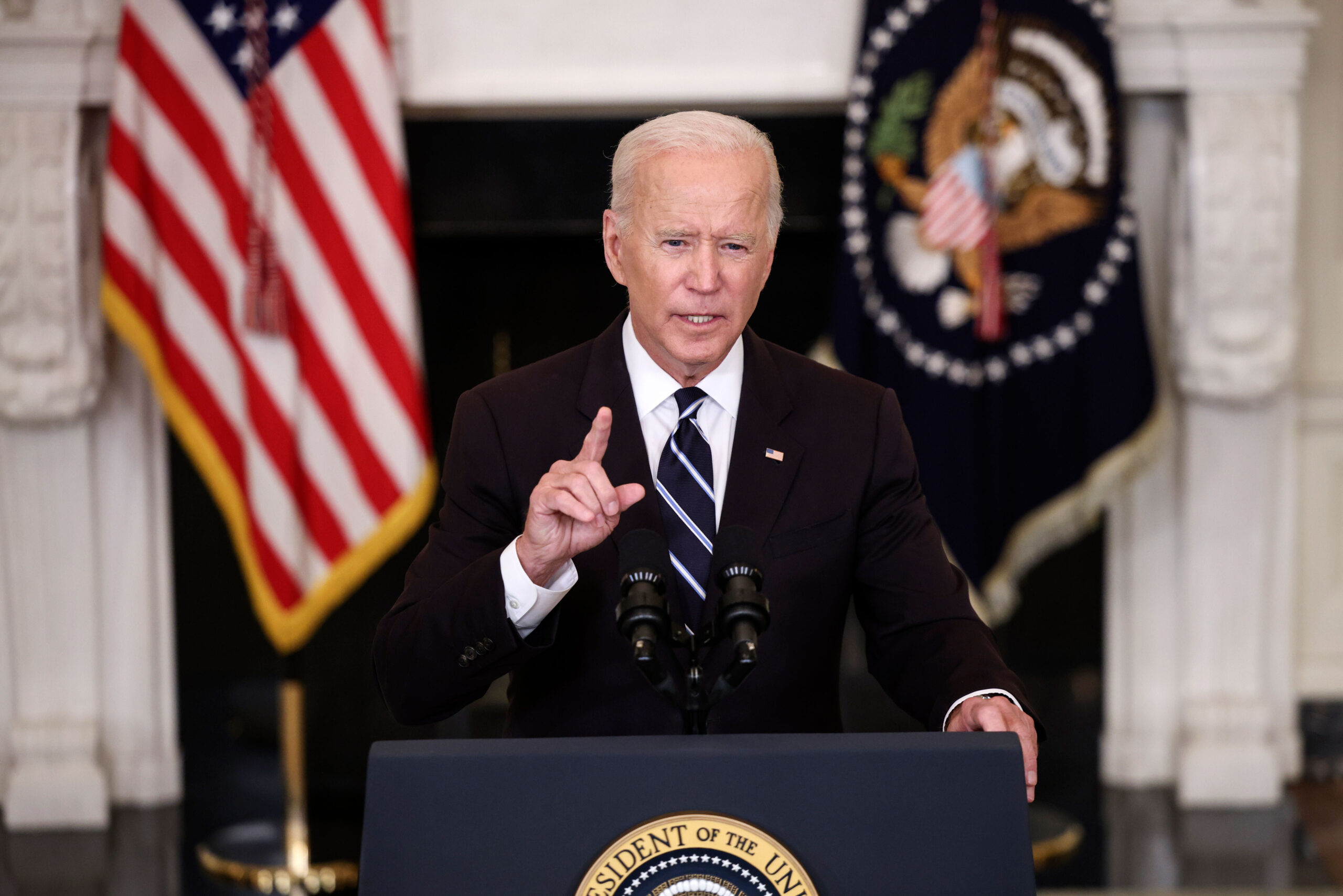 <i>Kevin Dietsch/Getty Images</i><br/>President Joe Biden speaks on Covid-19 vaccinations.