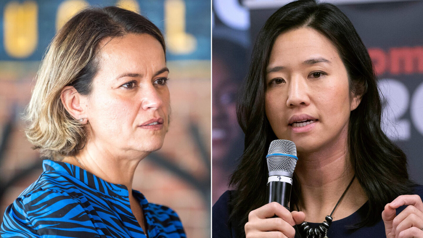 <i>AP licensed</i><br/>Boston mayoral race narrows to Michelle Wu and Annissa Essaibi George