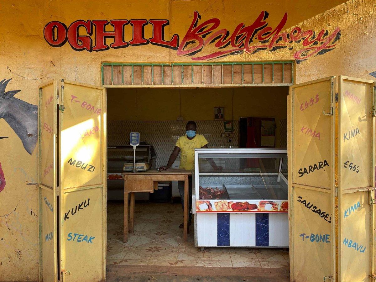 <i>Bethlehem Feleke/CNN</i><br/>Gabriel Mradrai in his now virtually empty butcher shop in Bura