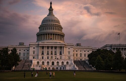 The U.S. Capitol Building is seen as the sun sets on July 26