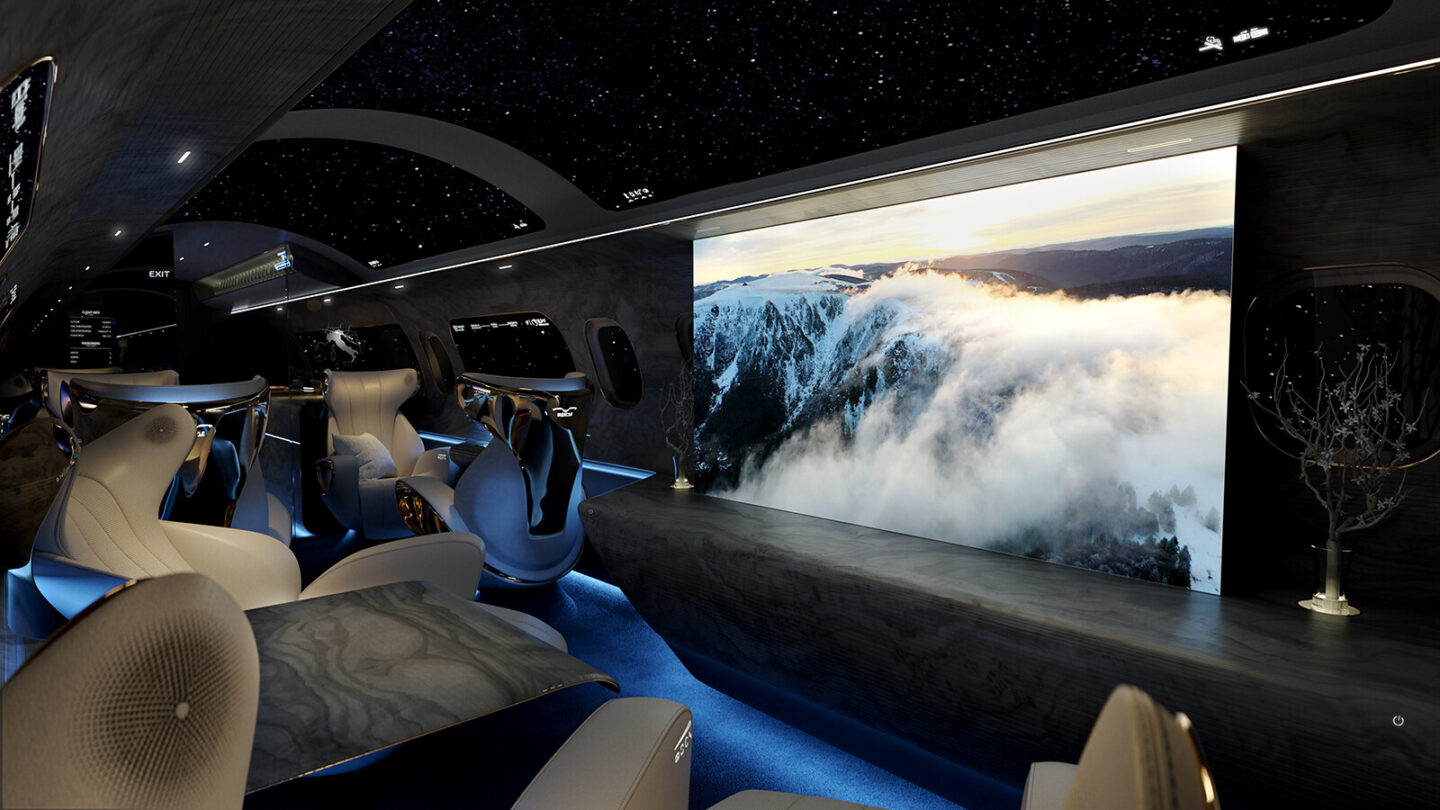 <i>Courtesy Rosen Aviation</i><br/>The Maverick Project replaces traditional porthole cabin windows with virtual screens.