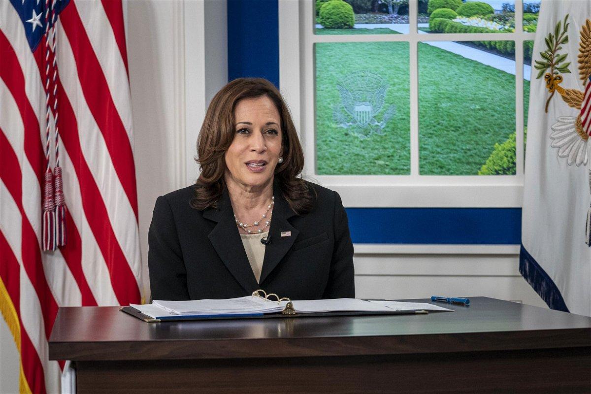 <i>Ken Cedeno/UPI/Bloomberg/Getty Images</i><br/>Vice President Kamala Harris
