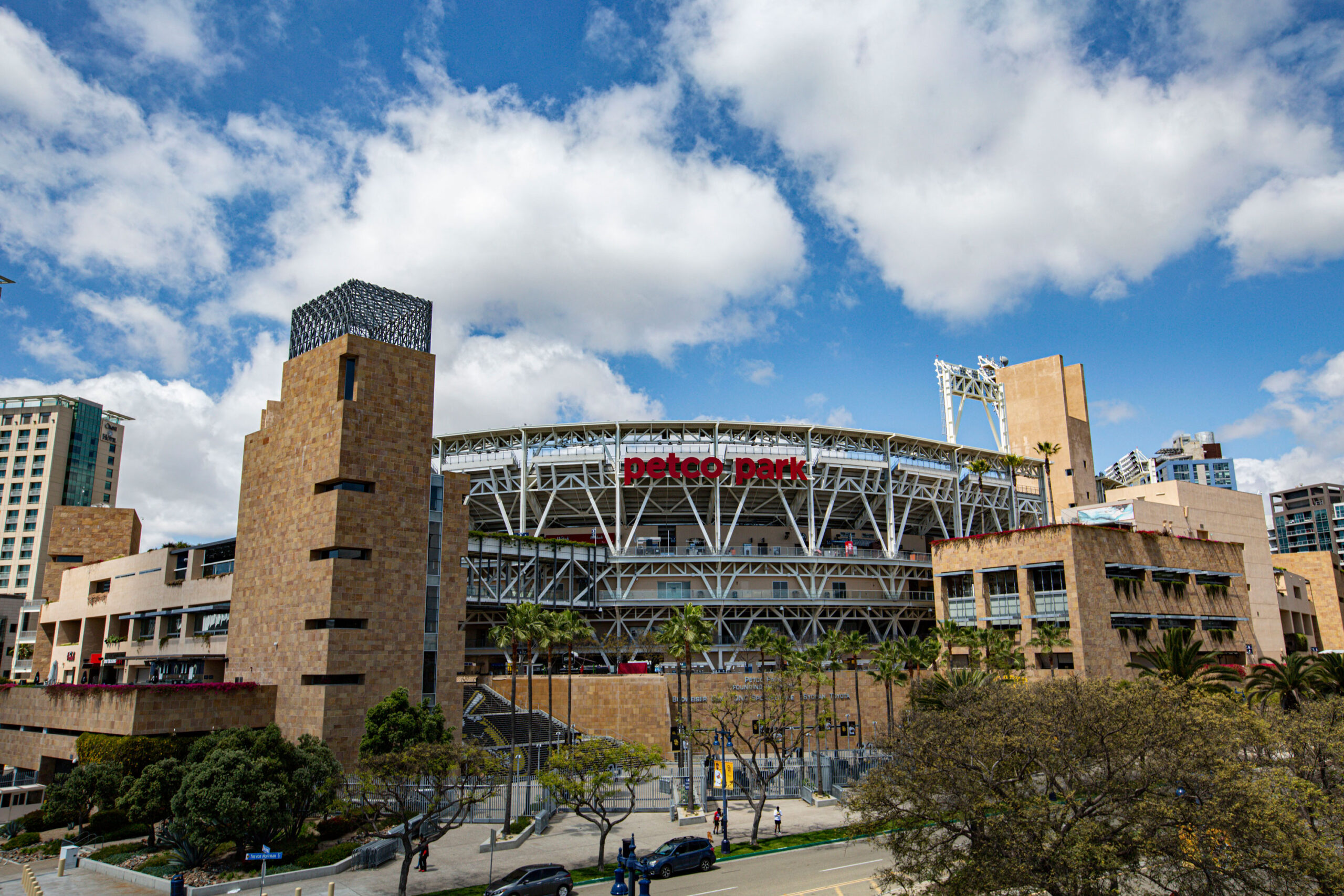 General view outside Petco Park in San Diego, California, where the Padres play baseball.