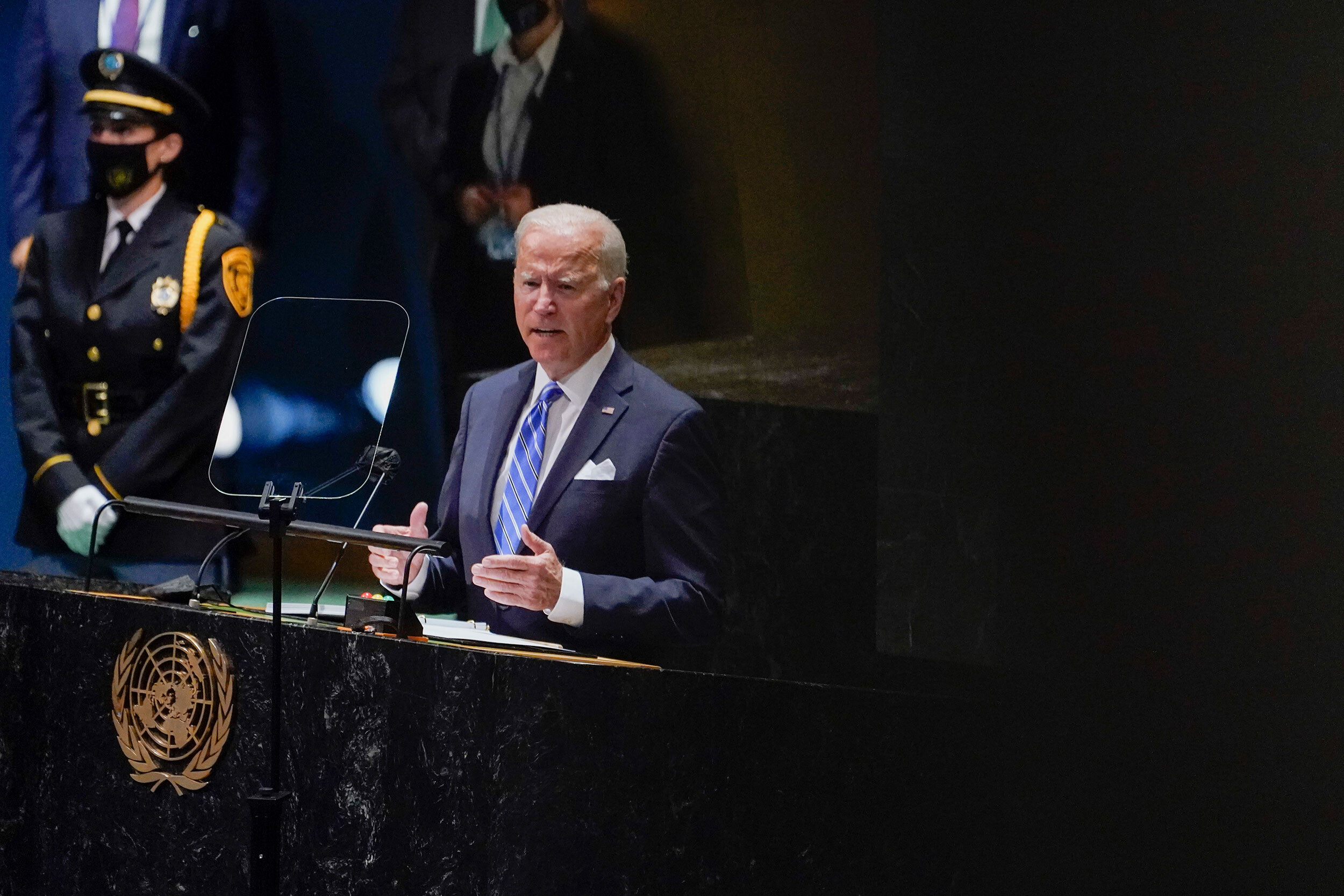 <i>Evan Vucci/AP</i><br/>US President Joe Biden delivers remarks to the 76th Session of the United Nations General Assembly on September 21.