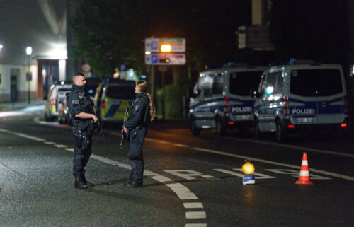Police officers block a street in Hagen on Wednesday evening after warnings of a terror threat against a synagogue.