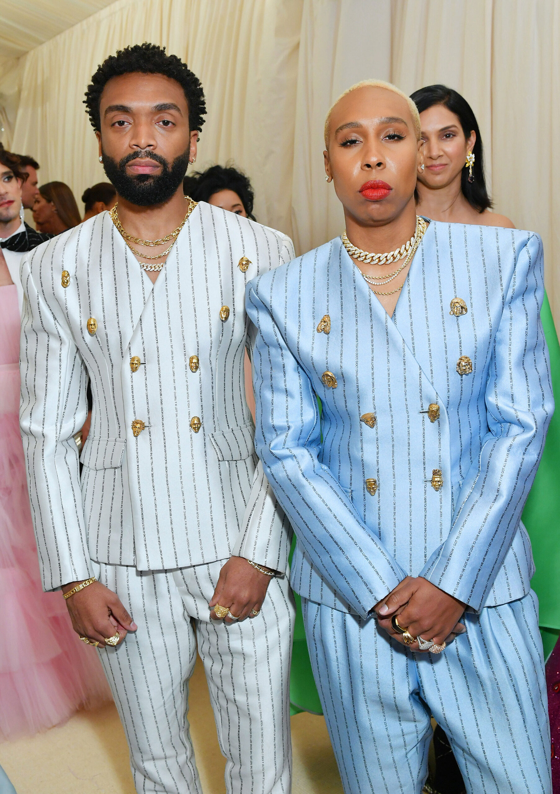 <i>Mike Coppola/Getty Images</i><br/>Pyer Moss founder Kerby Jean-Raymond and actor Lena Waithe both wearing suits with custom Johnny Nelson buttons to the 2019 Met Gala.