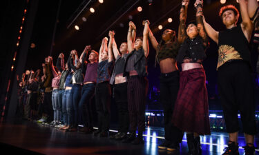 """The cast poses during the curtain call of """"Jagged Little Pill"""" in 2019. The show is nominated for 15 Tony Awards."""