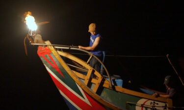 """Taiwan's last remaining """"fire fishing"""" boat is seen."""