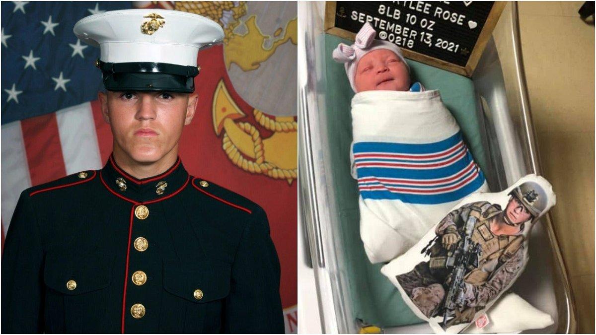Lance Cpl. Rylee McCollum and his newborn daughter, Levi.