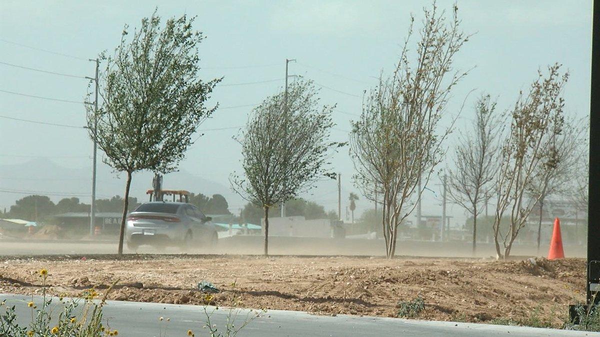 Blowing dust on east Montana Avenue in El Paso.