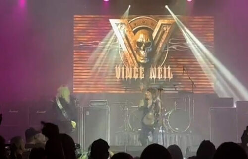 Mötley Crüe singer Vince Neil performs with his solo band just seconds before he fell off stage in Tennessee on  October 15.