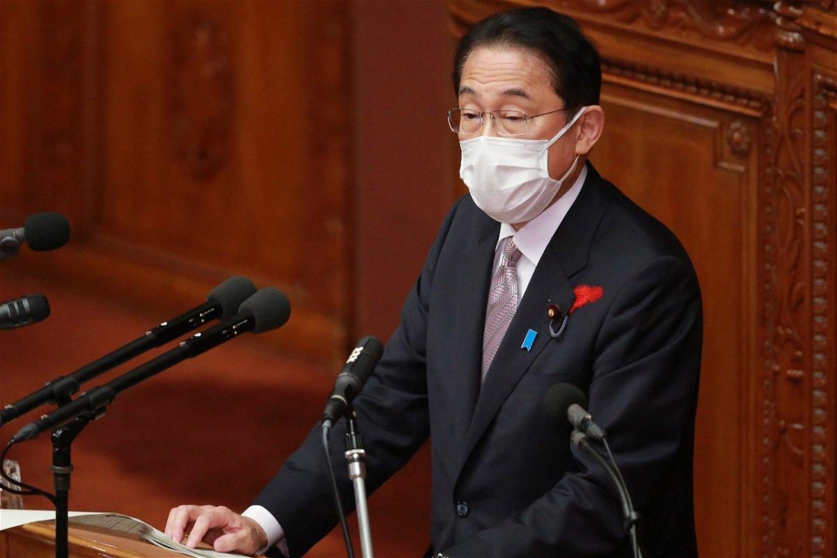 <i>Koji Sasahara/AP</i><br/>Japan's Prime Minister Fumio Kishida dissolved Parliament's lower house on Thursday. Kishida is shown here during a speech at the lower house of Parliament in Tokyo