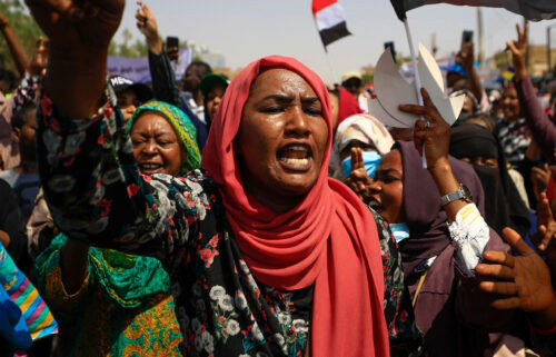 Protesters marched through the streets chanting anti-military slogans and waving flags.