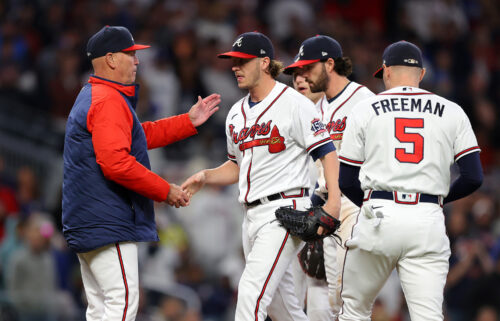 Braves manager Brian Snitker takes out Jacob Webb in the sixth innings of the team's game against the Los Angeles Dodgers.