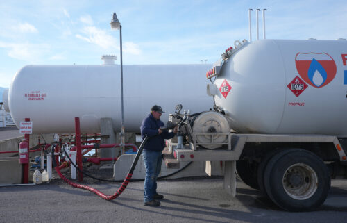 Retail natural gas prices are expected to hit the highest levels since the winter of 2005-2006. A worker here fills a propane delivery truck in Springville