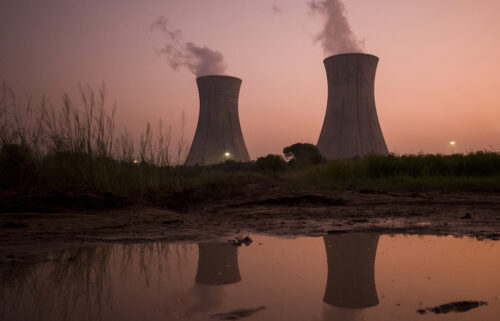 Cooling stacks at a coal-fired power plant in Uttar Pradesh
