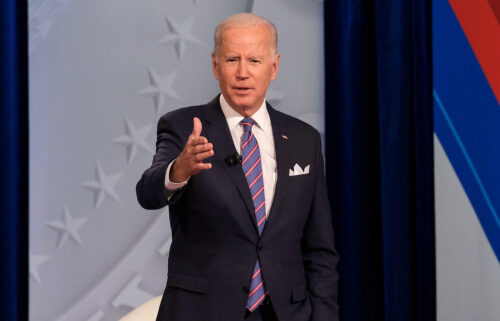 """President Joe Biden said Thursday a lot of Americans are feeling """"down"""" because of the pandemic and anxious about the future -- particularly heading into the holiday season -- and urged those struggling with mental health issues to seek help if they need it."""
