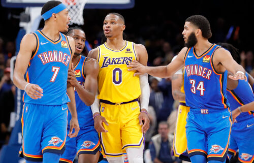 The Los Angeles Lakers guard Russell Westbrook (center) was ejected after a heated exchange with Oklahoma City Thunder forward Darius Bazley (left).