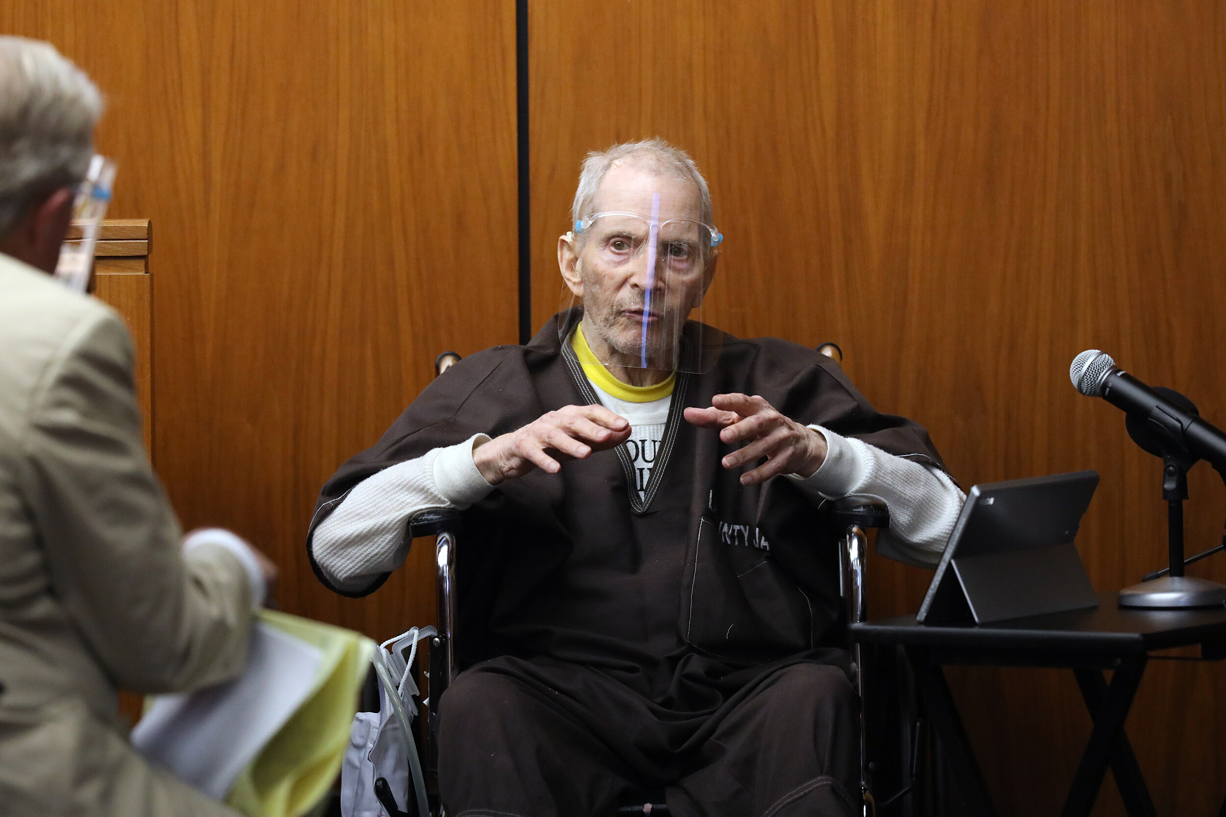 <i>Pool/Getty Images/FILE</i><br/>Robert Durst on the witness stand during his murder trial.