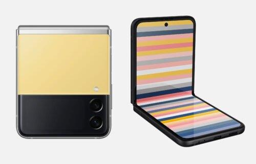 Samsung's new customizable Flip 3 smartphone is seen.