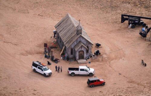 This aerial photo shows a film set at the Bonanza Creek Ranch in Santa Fe