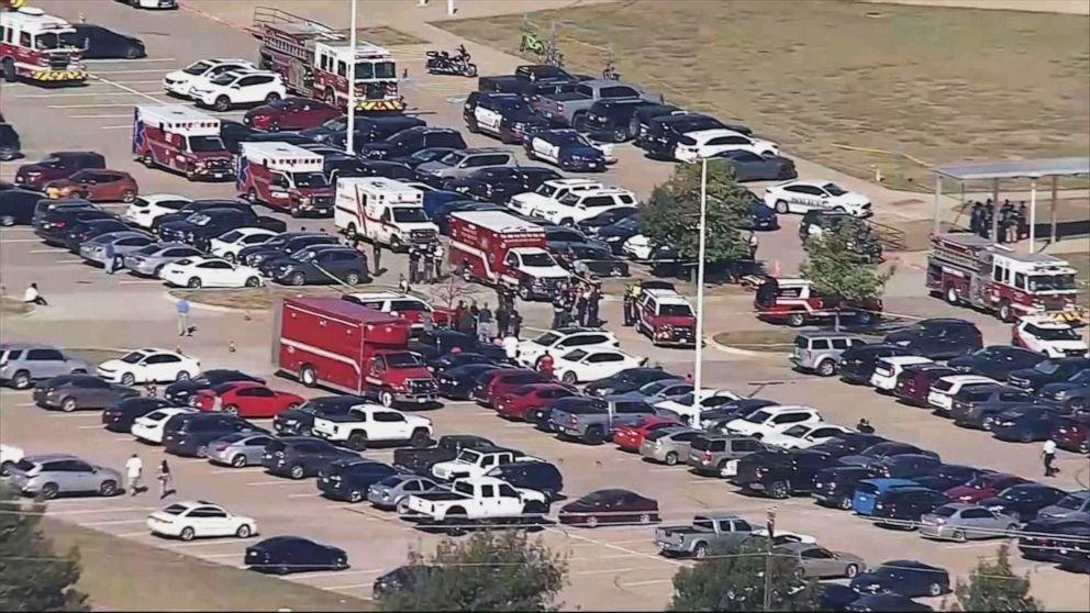 School shooting scene in Arlington, Texas.